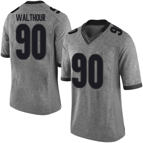 Men's Nike Tramel Walthour Georgia Bulldogs Limited Gray Football College Jersey