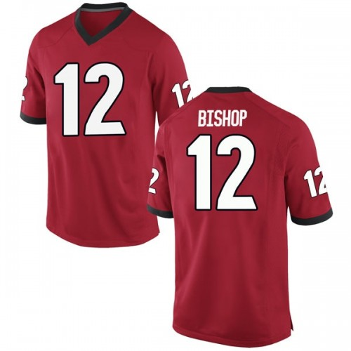 Men's Nike Tray Bishop Georgia Bulldogs Replica Red Football College Jersey
