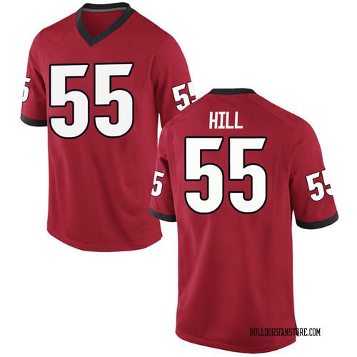 Men's Nike Trey Hill Georgia Bulldogs Replica Red Football College Jersey