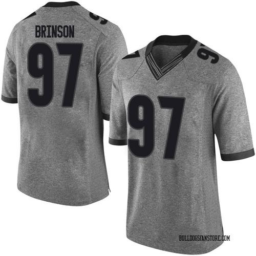 Men's Nike Warren Brinson Georgia Bulldogs Limited Gray Football College Jersey