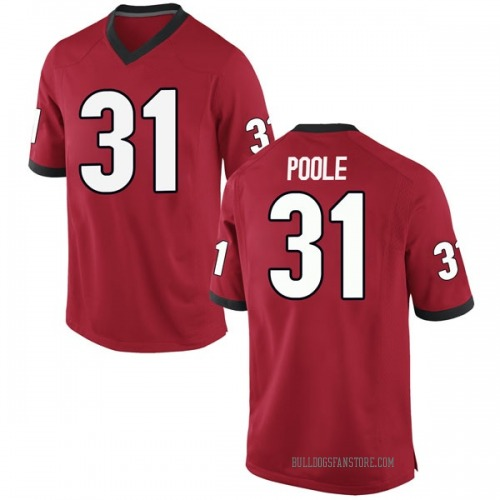 Men's Nike William Poole Georgia Bulldogs Game Red Football College Jersey