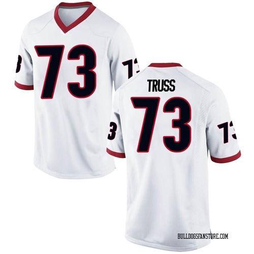 Men's Nike Xavier Truss Georgia Bulldogs Game White Football College Jersey