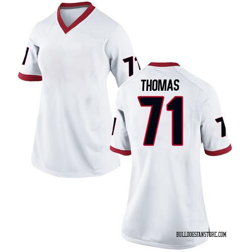 Women's Nike Andrew Thomas Georgia Bulldogs Replica White Football College Jersey