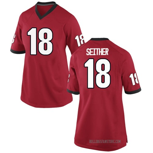 Women's Nike Brett Seither Georgia Bulldogs Replica Red Football College Jersey
