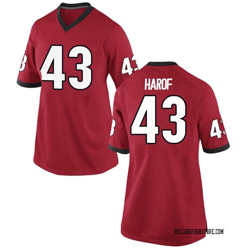 Women's Nike Chase Harof Georgia Bulldogs Replica Red Football College Jersey