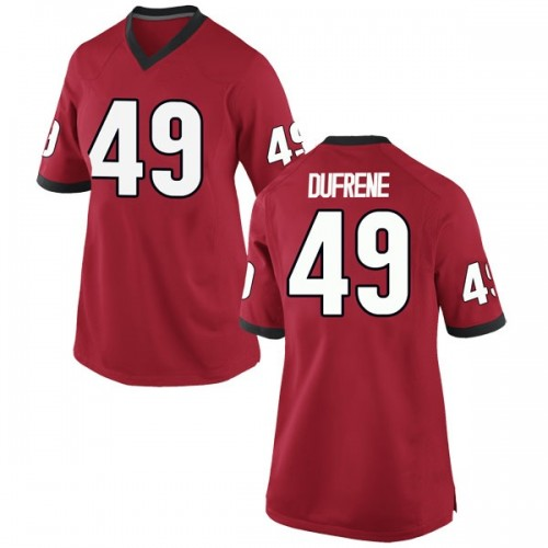 Women's Nike Christian Dufrene Georgia Bulldogs Replica Red Football College Jersey