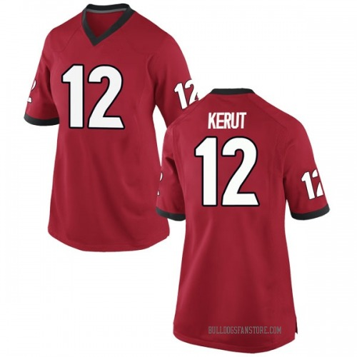 Women's Nike Christian Kerut Georgia Bulldogs Replica Red Football College Jersey