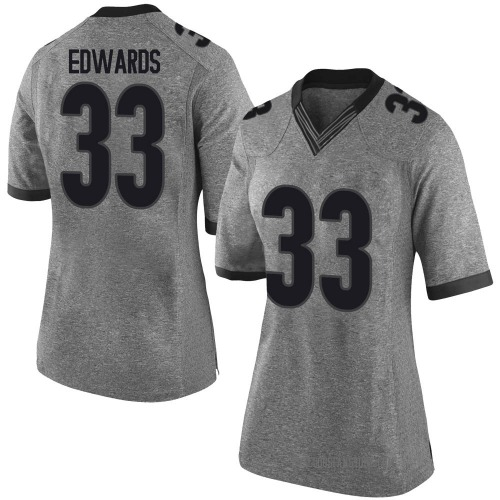 Women's Nike Daijun Edwards Georgia Bulldogs Limited Gray Football College Jersey