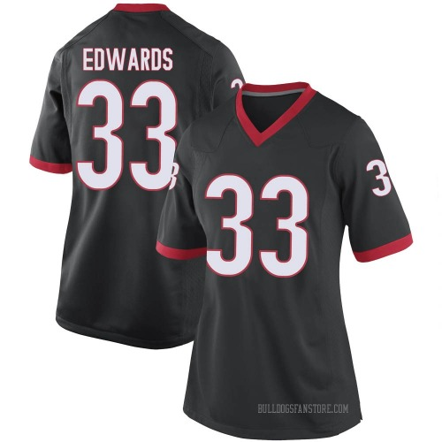 Women's Nike Daijun Edwards Georgia Bulldogs Replica Black Football College Jersey