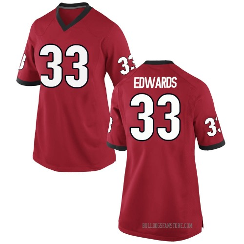 Women's Nike Daijun Edwards Georgia Bulldogs Replica Red Football College Jersey