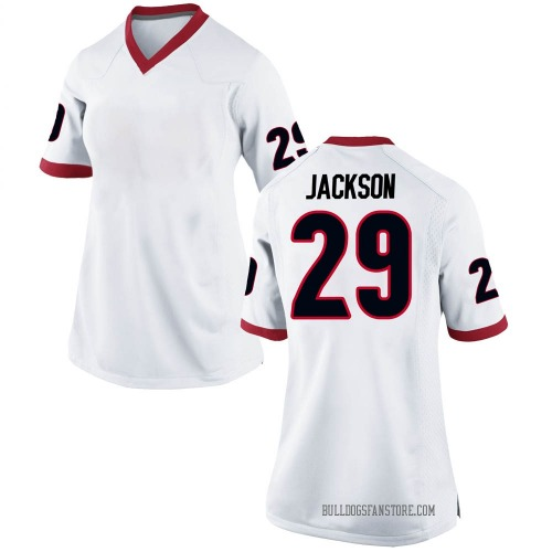 Women's Nike Darius Jackson Georgia Bulldogs Replica White Football College Jersey