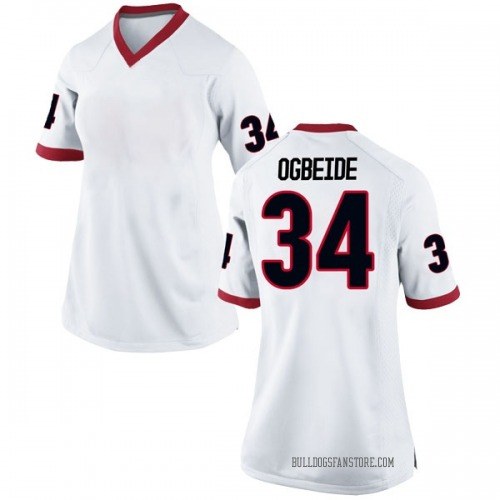 Women's Nike Derek Ogbeide Georgia Bulldogs Replica White Football College Jersey