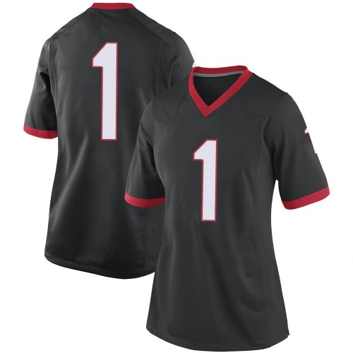 Women's Nike Divaad Wilson Georgia Bulldogs Replica Black Football College Jersey