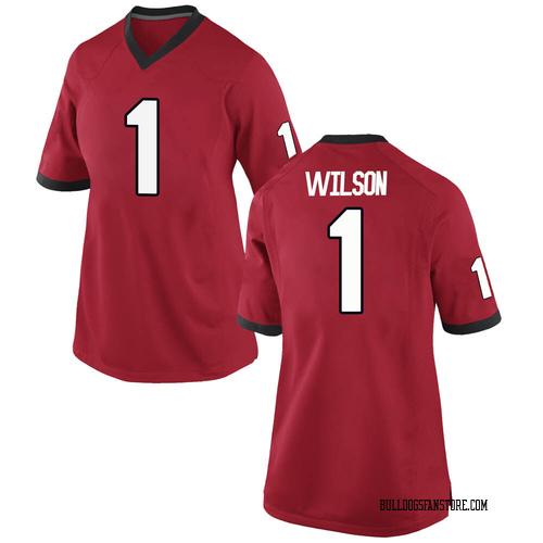 Women's Nike Divaad Wilson Georgia Bulldogs Replica Red Football College Jersey