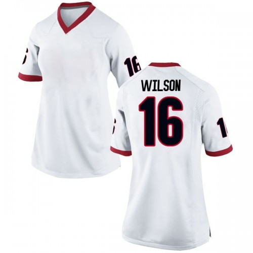 Women's Nike Divaad Wilson Georgia Bulldogs Replica White Football College Jersey