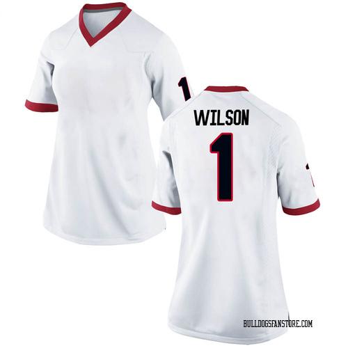 Women's Nike Divaad Wilson Georgia Bulldogs Replica White Football College Jersey