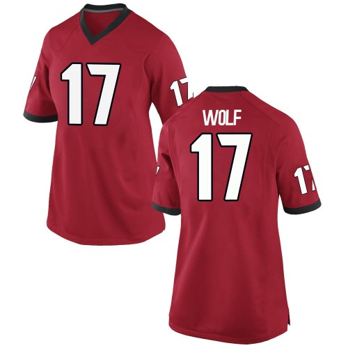 Women's Nike Eli Wolf Georgia Bulldogs Replica Red Football College Jersey