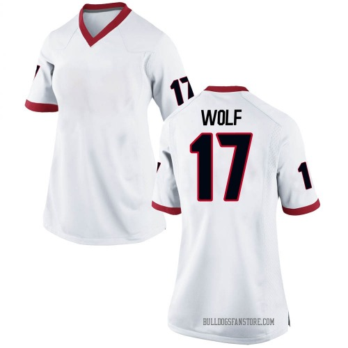 Women's Nike Eli Wolf Georgia Bulldogs Replica White Football College Jersey