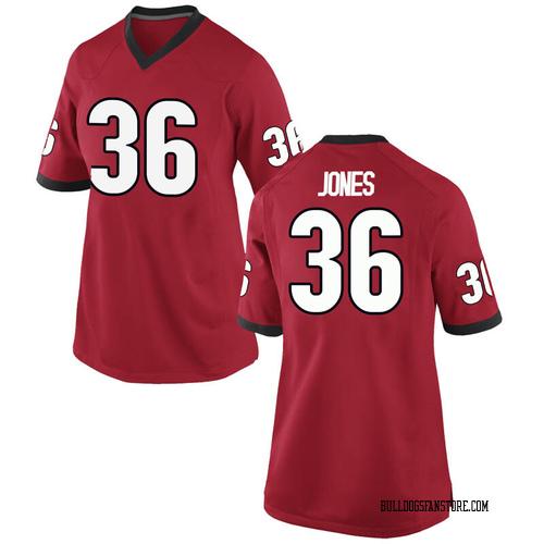 Women's Nike Garrett Jones Georgia Bulldogs Game Red Football College Jersey