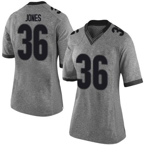 Women's Nike Garrett Jones Georgia Bulldogs Limited Gray Football College Jersey