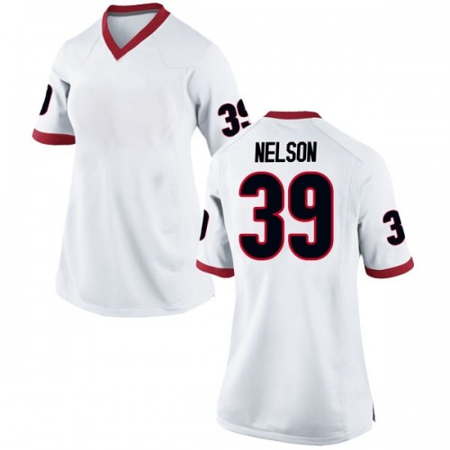 Women's Nike Hugh Nelson Georgia Bulldogs Replica White Football College Jersey