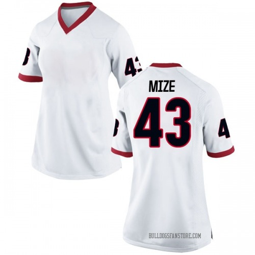 Women's Nike Isaac Mize Georgia Bulldogs Replica White Football College Jersey