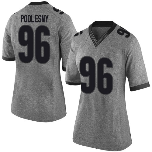 Women's Nike Jack Podlesny Georgia Bulldogs Limited Gray Football College Jersey