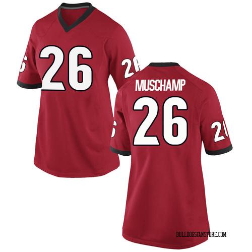 Women's Nike Jackson Muschamp Georgia Bulldogs Replica Red Football College Jersey