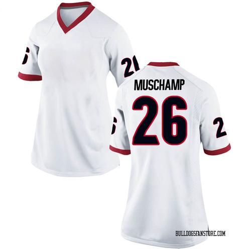 Women's Nike Jackson Muschamp Georgia Bulldogs Replica White Football College Jersey