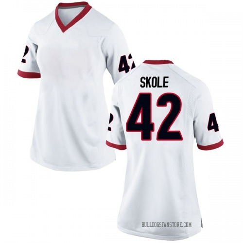 Women's Nike Jake Skole Georgia Bulldogs Replica White Football College Jersey