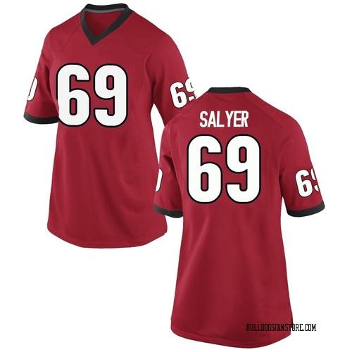 Women's Nike Jamaree Salyer Georgia Bulldogs Replica Red Football College Jersey