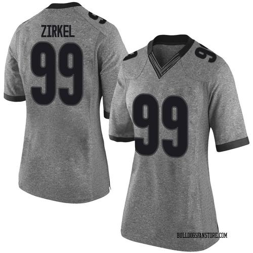 Women's Nike Jared Zirkel Georgia Bulldogs Limited Gray Football College Jersey