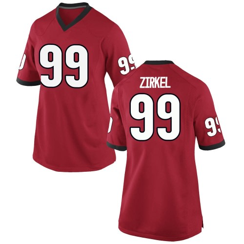 Women's Nike Jared Zirkel Georgia Bulldogs Replica Red Football College Jersey