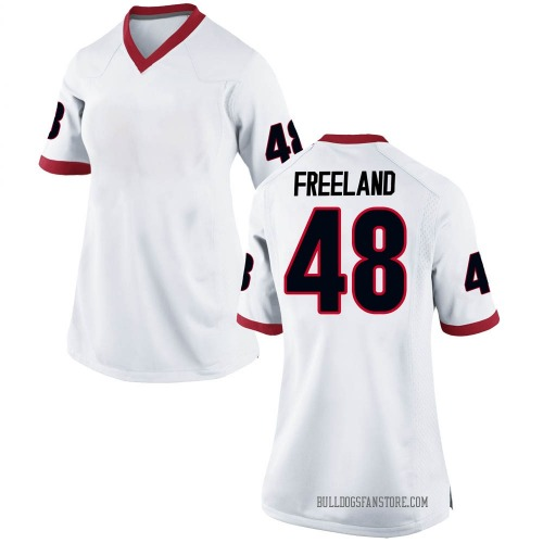 Women's Nike Jarrett Freeland Georgia Bulldogs Replica White Football College Jersey