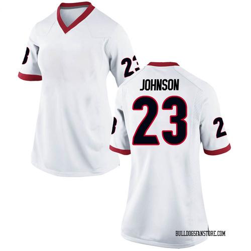 Women's Nike Jaylen Johnson Georgia Bulldogs Replica White Football College Jersey