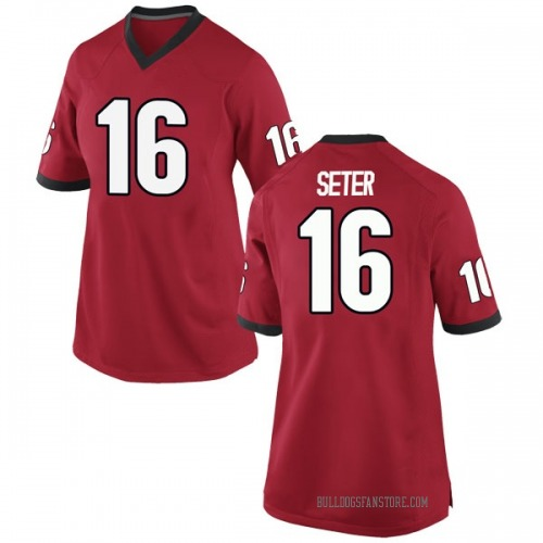 Women's Nike John Seter Georgia Bulldogs Game Red Football College Jersey