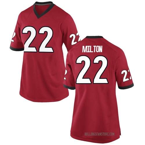 Women's Nike Kendall Milton Georgia Bulldogs Replica Red Football College Jersey