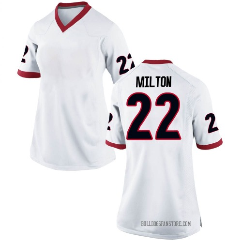 Women's Nike Kendall Milton Georgia Bulldogs Replica White Football College Jersey