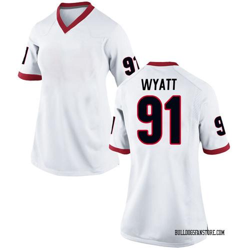Women's Nike Kolby Wyatt Georgia Bulldogs Replica White Football College Jersey