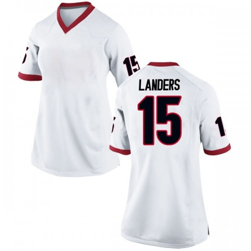 Women's Nike Matt Landers Georgia Bulldogs Replica White Football College Jersey