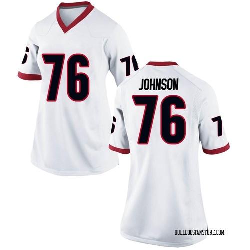 Women's Nike Miles Johnson Georgia Bulldogs Replica White Football College Jersey