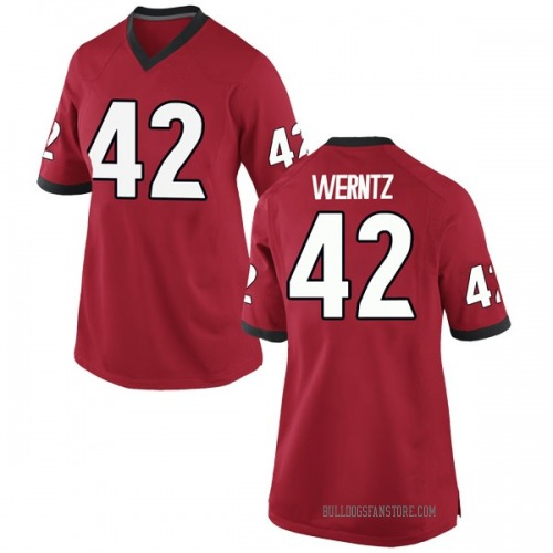 Women's Nike Mitchell Werntz Georgia Bulldogs Replica Red Football College Jersey
