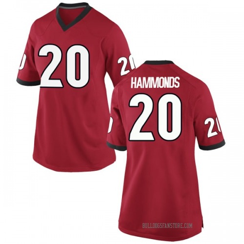 Women's Nike Rayshaun Hammonds Georgia Bulldogs Game Red Football College Jersey
