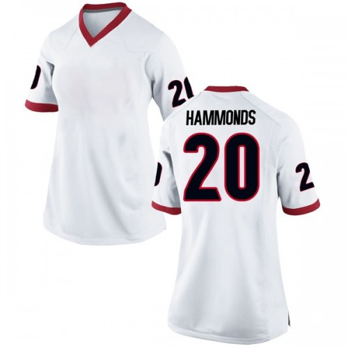 Women's Nike Rayshaun Hammonds Georgia Bulldogs Replica White Football College Jersey