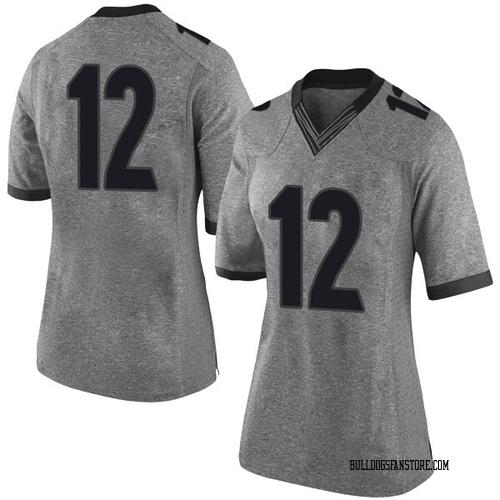 Women's Nike Tray Bishop Georgia Bulldogs Limited Gray Football College Jersey