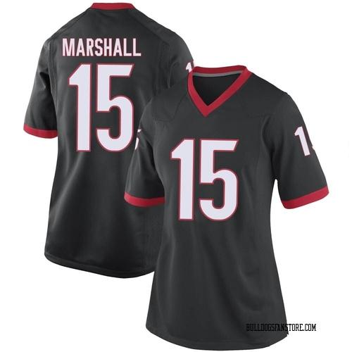 Women's Nike Trezmen Marshall Georgia Bulldogs Game Black Football College Jersey