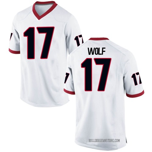 Youth Nike Eli Wolf Georgia Bulldogs Replica White Football College Jersey
