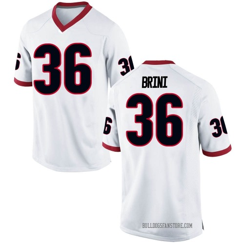 Youth Nike Latavious Brini Georgia Bulldogs Game White Football College Jersey