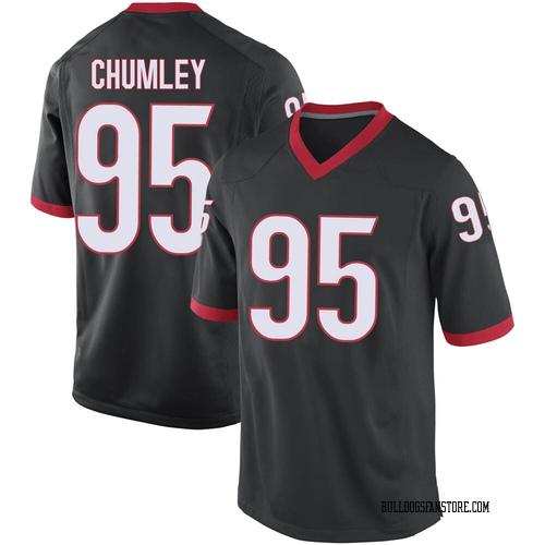 Youth Nike Noah Chumley Georgia Bulldogs Game Black Football College Jersey
