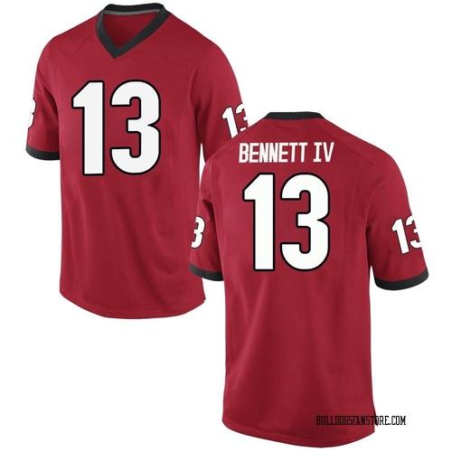 Youth Nike Stetson Bennett Georgia Bulldogs Replica Red Football College Jersey
